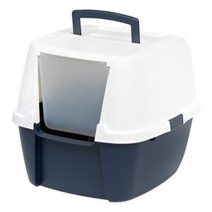 Iris Ohyama Litière/Maison de Toilette pour Chat avec Pelle Ouverture Frontale Plastique Bleu/Blanc 53,3 x 45,7 x 43,1 cm