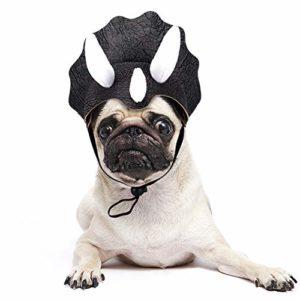 JDYW Costume d'animal de Compagnie Perruque de Dinosaure Chapeau Triceratops pour Chien Chat Déguisement de Noël Costume d'halloween pour Animaux de Compagnie (Dinasaur)