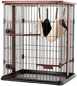 Leilims Grand Cage Cat, 3 Couches en métal Pet Playpen Chat Escalade Cadre Villa Maison avec hamac en Bois Massif Jump Plate-Forme