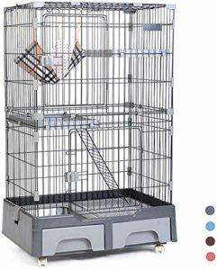 Leilims Grand Cat Cage, Métal 3 Niveaux Pet Villa Maison Clôture du Jeu Crate avec litière hamac Chat Box Escalade Échelle de Repos Plate-Forme, Bleu (Color : 1gray)