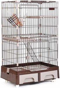 Leilims Grand Cat Cage, Métal 3 Niveaux Pet Villa Maison Clôture du Jeu Crate avec litière hamac Chat Box Escalade Échelle de Repos Plate-Forme, Bleu (Color : Brown)