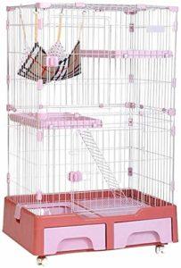 Leilims Grand Cat Cage, Métal 3 Niveaux Pet Villa Maison Clôture du Jeu Crate avec litière hamac Chat Box Escalade Échelle de Repos Plate-Forme, Bleu (Color : Pink)