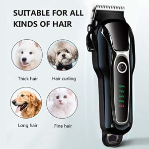 libelyef Dog Clipper, Rechargeable Dog Trimmer Pet Professional Beauty Tool Set Peigne Ciseaux Pet Toilettage CiseauxTool Pet Hair Removal for Dogs Cats Horses Impart