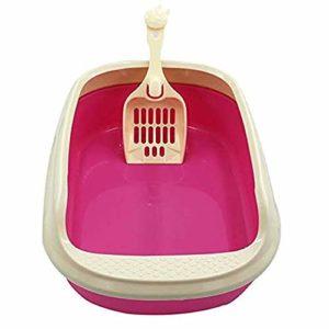 LIZONGFQ Toilette pour Chat Bac à litière pour Chat Semi-fermé en Plastique résistant aux Fissures avec Pelle à litière pour Chat Boîte de litière pour Chat de Formation Durable incassable,Rose,M