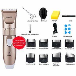 PanDaDa Tondeuse Chien Silencieuse Rechargeable sans Fil Faible Bruit Ensemble USB Tondeuse Rouge pour Toilettage De Chiens Chats Coupe-Cheveux