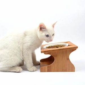 Petsoigné Haute Gamelle pour Chat et Chiot Bol Incliné pour Chat et Chien avec Support en Bois (1 Bol, Céramique)
