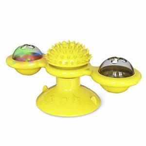 RISF Jouet tournant pour chat avec ventouse, jouet interactif pour chat avec moulin, brosse à poils en silicone souple lavable et lavable pour chat