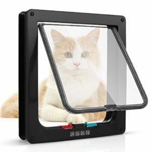 Sailnovo Chatière pour Chat Chatière magnétique avec verrou Rotatif à 4 Voies pour Chat (XL: 20 x 22 x 5.5 cm, Noir)