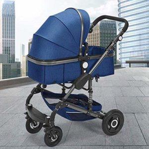 ZHANGKANG Poussette convertible inclinable pliable et portable antichoc avec cadre en aluminium Harnais 5 points et produits pour bébé