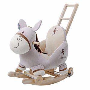 Zxllyntop Cadeau de Jouet d'apprentissage de Robot bébé Peluche Cheval Enfant en Bas âge Jeu Rocker Chaise Jeux de rôles Standing Horse Ride on Cheval Jouet (Couleur : Gris, Taille : 60X28X82CM)