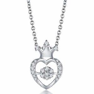 Diamant en Or Blanc 18 carats Solide Pendentif Coeur Design for Lady Anniversaire Cadeau de Mariage