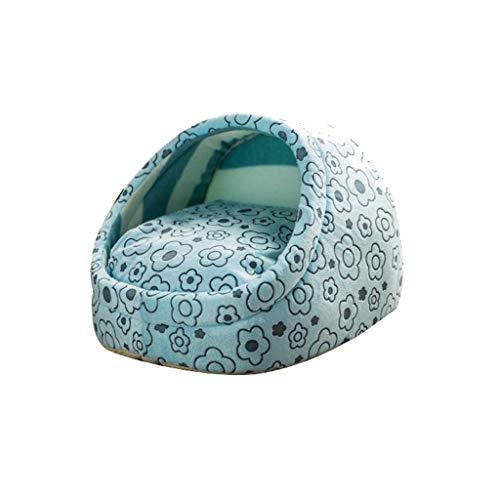 GGDJFN Lits for Chiens Litière for Chats Yourte Chaud Nest Pet, Petite Cave Nest Semi-fermé Animaux en Peluche Canapé Animaux Lits Lit Pet Maison Lavable, Four Seasons Universal, Bleu (Size : Small)