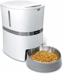 honeyguaridan A36 Distributeur Automatique de Nourriture pour Chiens et Chats avec Bol en Acier Inoxydable et contrôle des portions et Enregistrement Vocal Capacité 13 Tasses, 2,47 kg