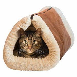 Invero® – Tunnel pour chat et tapis pour animaux de compagnie chauffant à noyau thermique doux et confortable 2 en 1 – idéal pour tous les chats, chiots et petits chiens