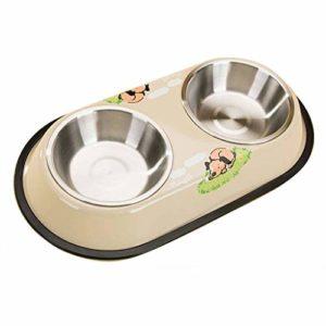 JHLD Double Chat Chien Gamelle, Acier Inoxydable Pet Gamelle avec Base en Silicone Antidérapante Mangeoire pour Animaux, pour Moyen Petit Chat Chien-A-Grand