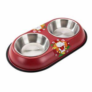 JHLD Double Chat Chien Gamelle, Acier Inoxydable Pet Gamelle avec Base en Silicone Antidérapante Mangeoire pour Animaux, pour Moyen Petit Chat Chien-C-Petit