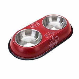 JHLD Double Chat Chien Gamelle, Acier Inoxydable Pet Gamelle avec Base en Silicone Antidérapante Mangeoire pour Animaux, pour Moyen Petit Chat Chien-D-Grand