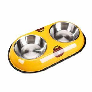 JHLD Double Chat Chien Gamelle, Acier Inoxydable Pet Gamelle avec Base en Silicone Antidérapante Mangeoire pour Animaux, pour Moyen Petit Chat Chien-G-Petit