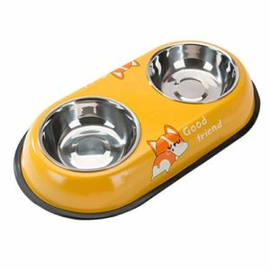 JHLD Double Chat Chien Gamelle, Acier Inoxydable Pet Gamelle avec Base en Silicone Antidérapante Mangeoire pour Animaux, pour Moyen Petit Chat Chien-H-Petit