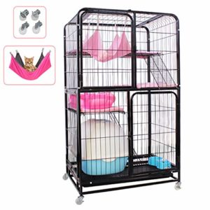 LTJX Chat Cage, 3 Couches D'élevage Rongeurs Chinchilla Enclos en Métal Cage Grillage Portes Équipées de Verrous Transportable Roulette,Noir