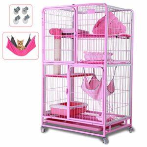 LTJX Chat Cage, 3 Couches D'élevage Rongeurs Chinchilla Enclos en Métal Cage Grillage Portes Équipées de Verrous Transportable Roulette,Rose