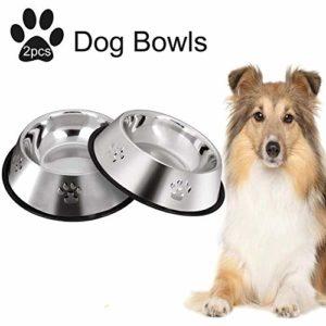 LYDIANZI 2pcs Cat Bowl Pet Food Bowl Chat en Acier Inoxydable Abreuvoir antidérapante en Caoutchouc de Base Rongeur Gamelle for Chat Ensemble d'alimentation Bols