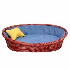 N/A Chat for Petits Animaux en rotin Lit Dog Yellow Nest Pillow Cool Summer Facile à Nettoyer Respirabilité Lavable Solide avec Disque de Coton Bleu Doublure Coton (Size : XXL)