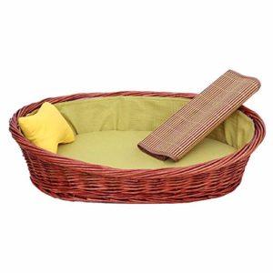 N/A Rotin Pet Supplies Recliner Main en Osier Lit for Chat Cool litière Lavable Kennel Chat d'été for Petits Animaux avec Coussin fraîche et Vert Clair Coton Pad (Size : XXL)
