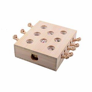 XPT-Pet Toy Chat Exercice Jouets Interactif Combattez Les Rats Gaufre Mouse Whack en Bois Massif Puzzle Box Exercice Jouets De Dessin Animé Mignon Chaton en Jouant (Color : 2)