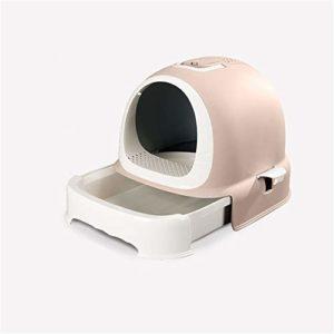 XYBB Litiere Chat Bac pour Chats Entièrement Fermé Surdimensionné De Odorized Fermé Toilettes De Chat Fermé Anti-éclaboussures Extra 53 * 43.2 * 43cm Thé au Lait
