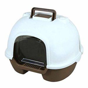 XYBB Litiere Chat Bac pour Chats Portable Fermé Back Flip Cat Toilette Environmental Protection Splash 50 * 39 * 41cm Marron