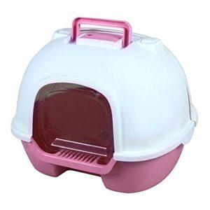 XYBB Litiere Chat Bac pour Chats Portable Fermé Back Flip Cat Toilette Environmental Protection Splash 50 * 39 * 41cm Rose