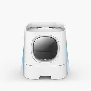 XYBB Litiere Chat Bac pour Chats Semi Fermé Smart Deodorization Splash Proof Pet Toilet Box Mobile Phone Monitor 41 * 44 * 54cm Blanc