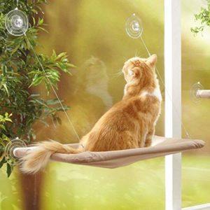 YIQI Hamac de Chat monté sur la fenêtre pour la Perche du Chat, lit Suspendu pour Animal de Compagnie à Ventouse Confortable, Durable, Solide, Espace de Rangement (55x32cm)