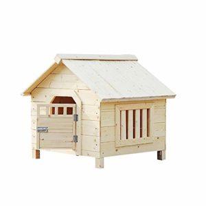 ZWH-Lit pour Animaux Big Dog Maison en Bois de Pet Home intérieur/extérieur Bois Maison Cat Shelter (Color : No Rain Cloth, Size : XXL)