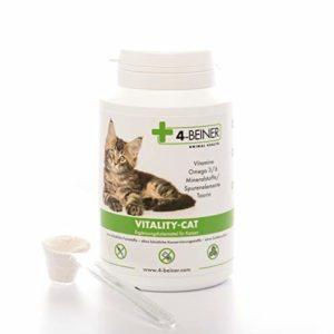4-BEINER VITALITY-CAT – Complément alimentaire pour chat avec multi vitamines & minéraux / oligo-éléments, Omega 3/6 acides gras & taurin pour renforcer le système immunitaire, idéal supplement BARF