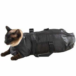 Camidy Portable Pet Cat Restraint Bag Pet Bath Bag Sac de Toilettage pour Chats Noir
