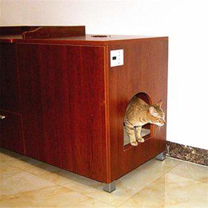 CSDY-Chambre pour Toilettes pour Chat Boîtier De Litière pour Chat Moderne Écologique avec Portes (Assemblage sans Outil) Table De Chevet 113 * 53 * 66CM