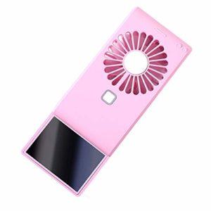 DDIAN Mini USB Portable Rechargeable Ventilateur De Bureau 3 Vitesses Et Éclairage LED pour Bureau À Domicile Voyage en Plein Air Voiture De Camping,Rose