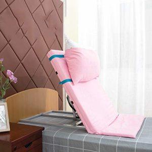 HHORD Électrique Dossier sur Le Lit, Lit Électrique Dossier, Portable Réglable Sit-Dos De Repos Tubes en Acier Inoxydable Et Respirante Tissu Handicap Support Lit Dossier,Rose