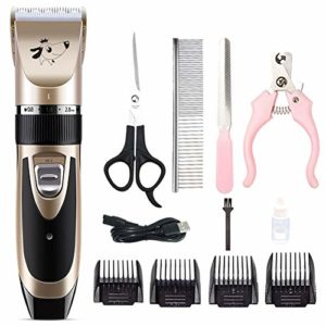 iShiné Chien Chat Clipper, Rechargeable Dog Trimmer Beauty Tool Set Peigne Ciseaux Pet Toilettage Outil
