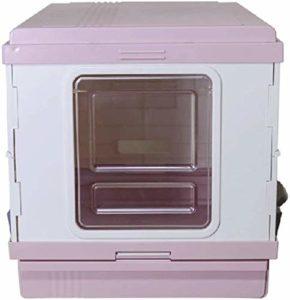 KYLL Litière extérieur Plateau avec tiroir Pet Cat bac à litière de Chat Toilette for Chat Litière Portable Pliable Grand bac à litière for Animaux jusqu'à 10 kg (Color : Pink)