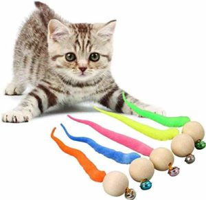 N / A 5 Pcs Wiggly Ball Cat Toy, Worm Cat Toy, Simulation Worm Toy with Bell for Pet, Cat Toys Interactive