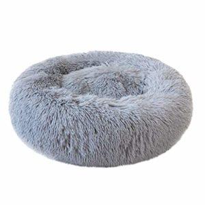 Rameng Rond en Peluche pour Animal Domestique Panier Lit pour Chat Chien Confortable Coussin Lavable (L: diamètre 50cm; Hauteur 20cm, Gris)