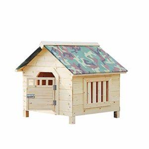 ZWH-Lit pour Animaux Big Dog Maison en Bois de Pet Home intérieur/extérieur Bois Maison Cat Shelter (Color : Rain Cloth, Size : XXL)