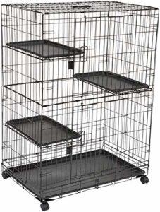 AmazonBasics Cage de jeu pour chat 3 niveaux Grand modèle Noir 91 x 57 x 128,5cm