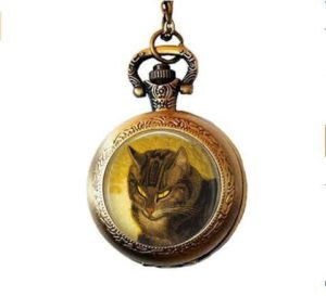 Bab Steinlen Collier avec pendentif en forme de chat Steinlen Cat Bijoux pour chat Marron Chat Amateur de chat Montre de poche Collier Chat Chat Chat Serene Chat Chat Mystique