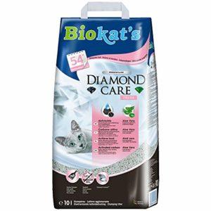 Biokat's Diamond Care Fresh, litière pour chats avec parfum – Litière agglomérante de qualité supérieure pour chats, au charbon actif et à l'Aloe vera – 1 sac en papier (1 x 10l)