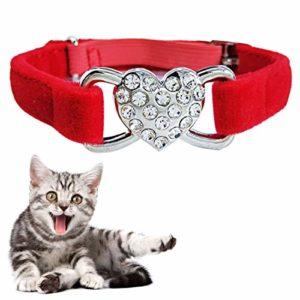 Luoshan Collier réglable en Peluche à Double Couche en Forme de Diamant en Forme de Coeur for Chat, Taille: 1.0 * 28.0cm (Noir) (Color : Red)