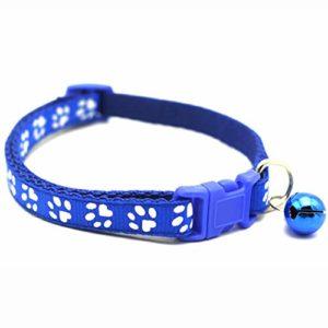 Markoo Collier pour chien et chat avec boucles réglables avec cloche pour chat Accessoires pour petits chihuahua bouledogues D Bleu, 2 pièces